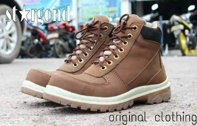 Jual Sepatu Boots Cowok Stargond Mercury Coklat / Safety Kulit Murah