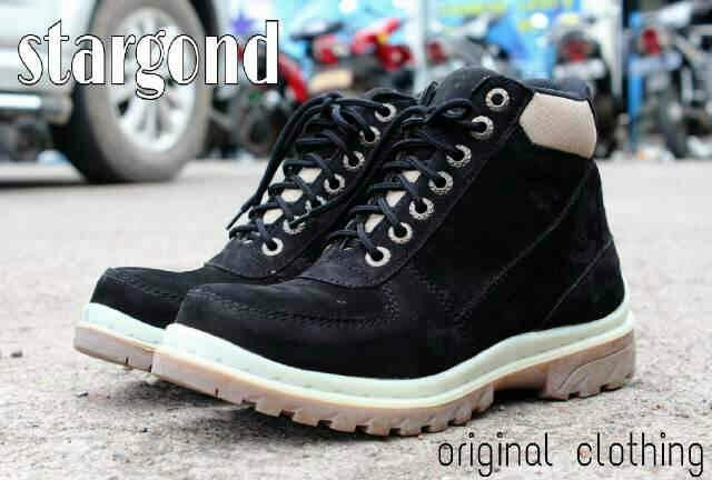 Jual Sepatu Boot Cowok Stargond Mercury Hitam / Safety Kulit Murah