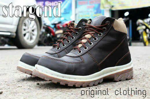 Jual Sepatu Boots Cowok Stargond Mercury Coklat Kopi / Safety Kulit Mu