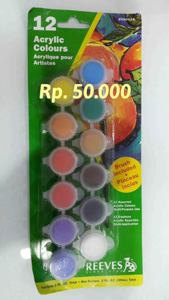 Reeves Acrylic Pot 12 Warna 5ml + Brush