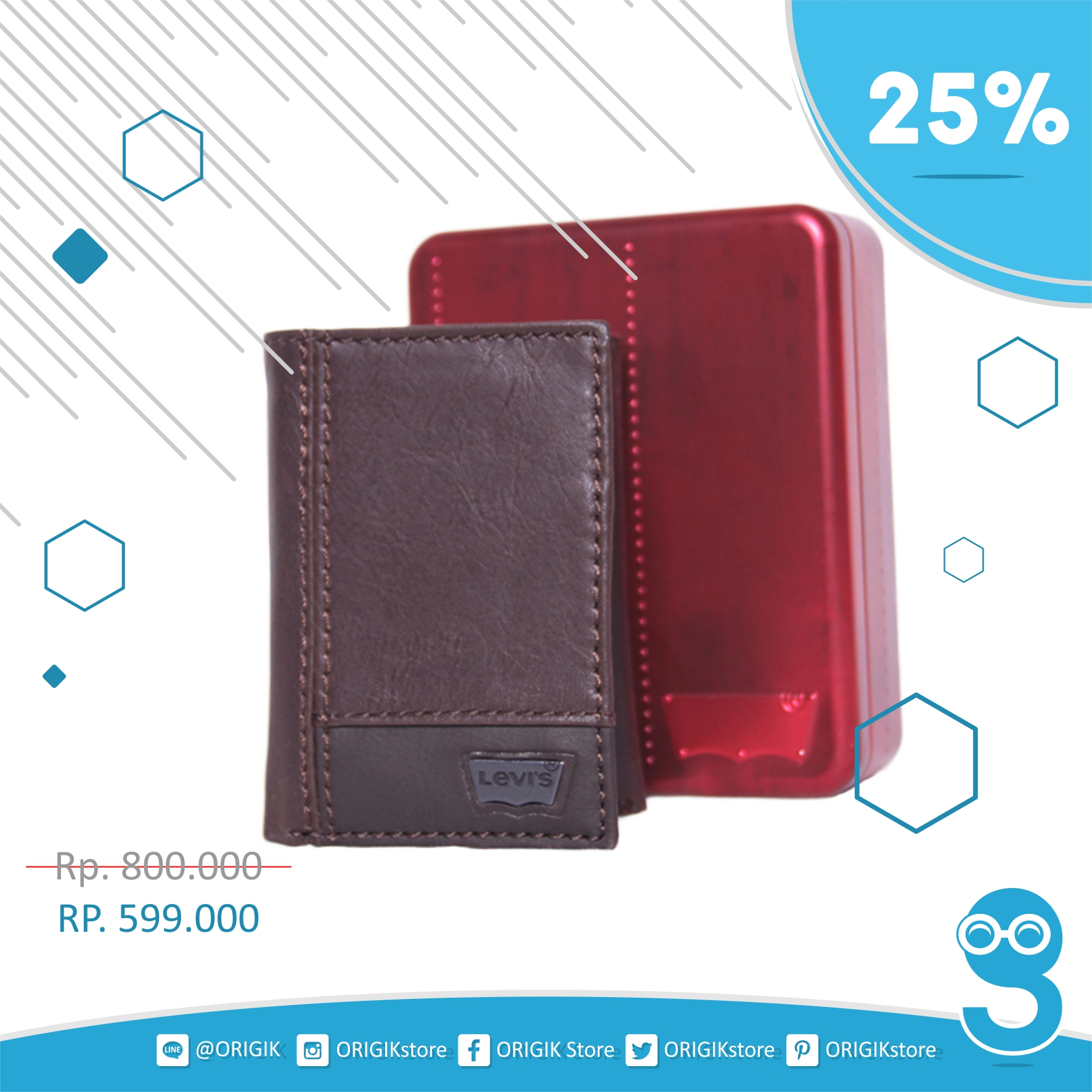 Jual Dompet Pria Levis Mens Trifold Two Tone Wallet