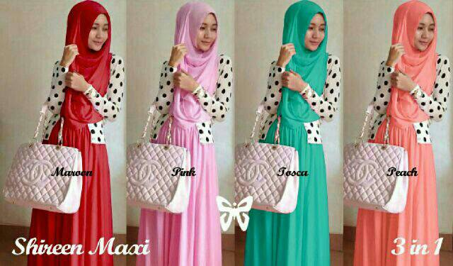 Shireen maxi hijab/gamis dress polka