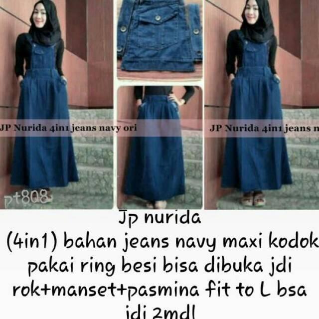 JP Nurida / Setelan Hijab Denim 4in1 / Baju Kodok Wanita / Rok Jeans