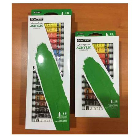 V-TEC Acrylic Colour Set Type 818 18warna 12ml