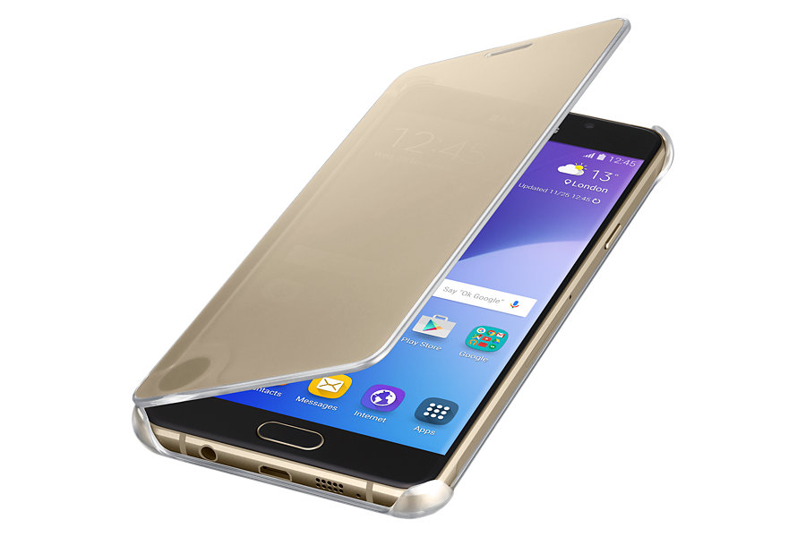 Samsung Clear View Window Flip Cover For Samsung A7 2016 Edition - Gol