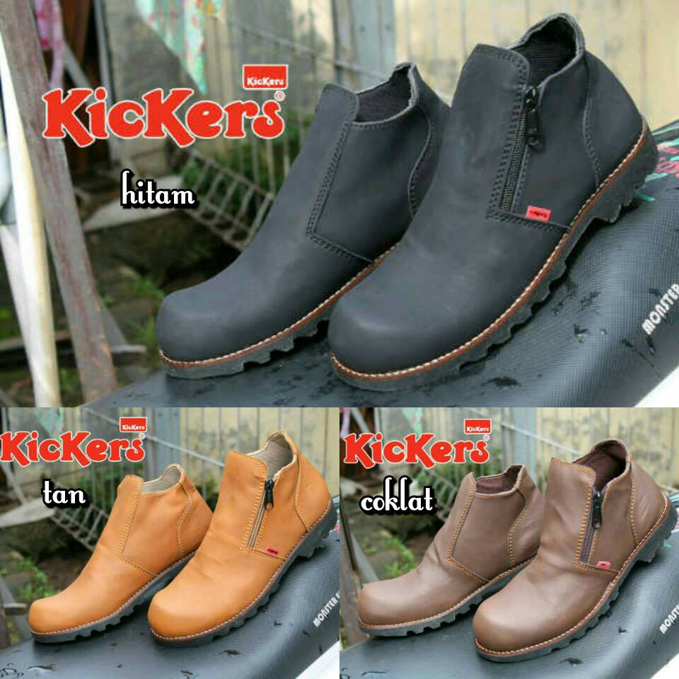 Jual Sepatu Boots Safety Kickers Sleting Pria / Ujung Besi Murah