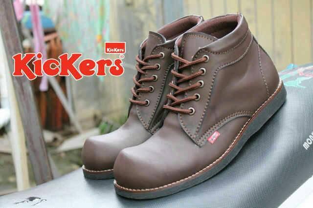 Jual Sepatu Boots Safety Kickers Brown / Ujung Besi Murah