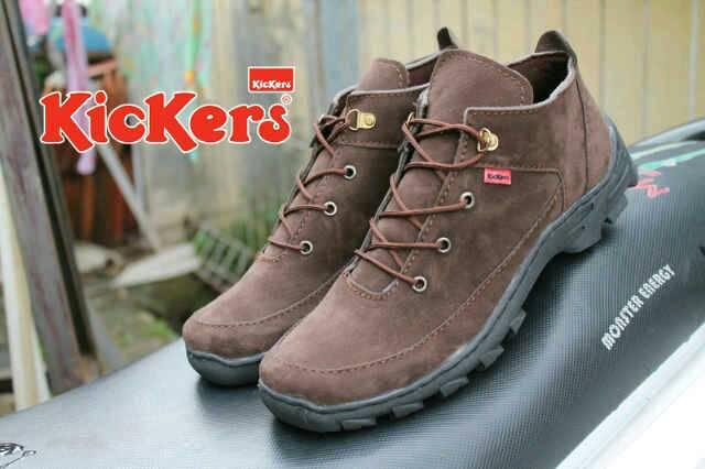 Jual Sepatu Boots Kickers Prado Real Suede Brown / coklat Murah