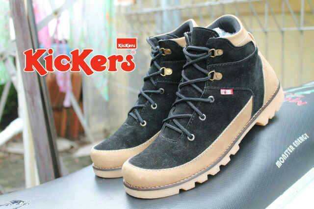 Jual Sepatu Boots Kickers Real Suede Kombinasi Murah