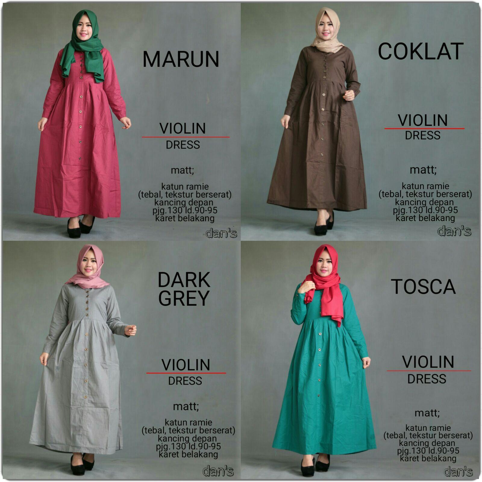 Jual Dans Violin Busana Muslim Gamis Katun Kaos Hijab Wanita Syari Baju Dress