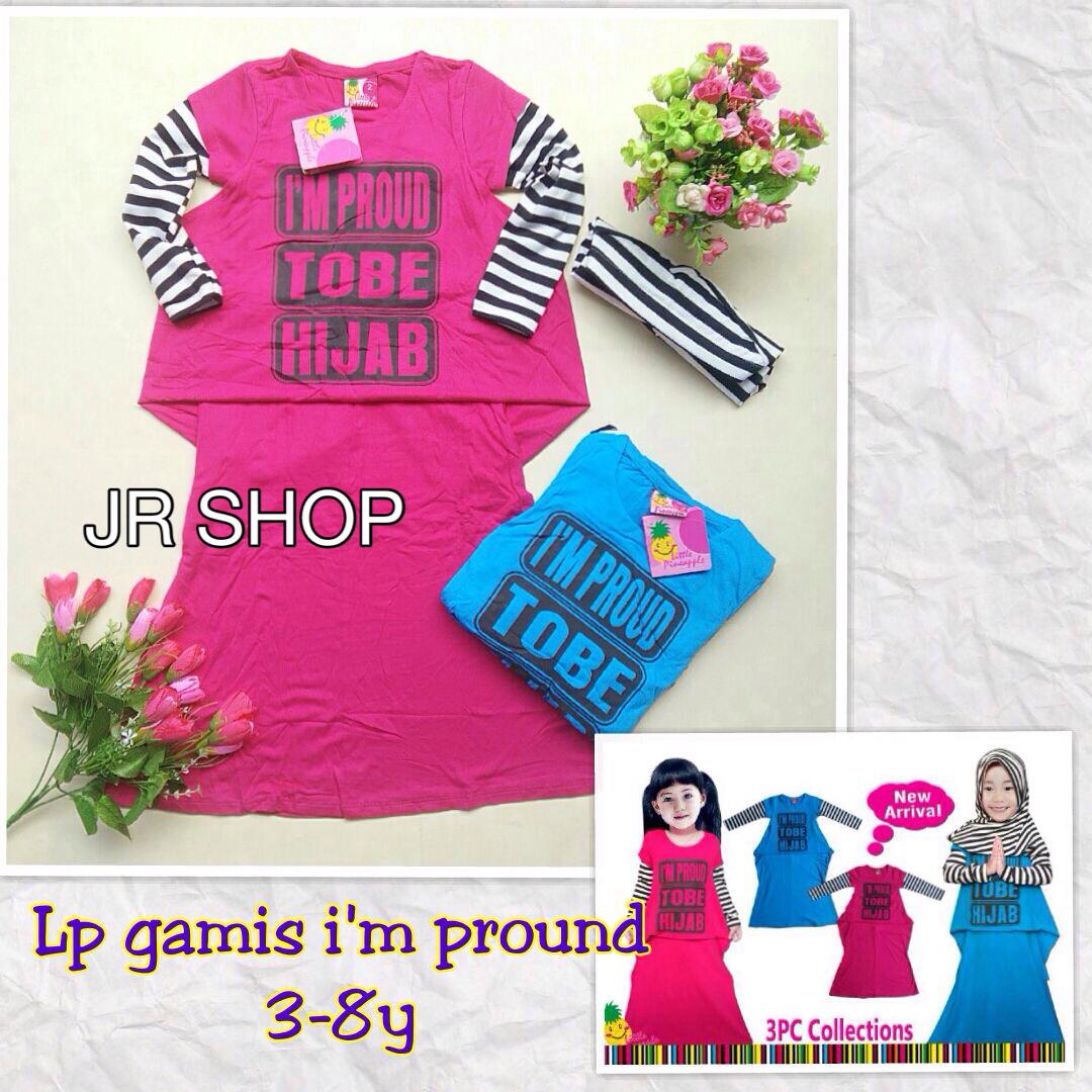 gamis anak hijab pink biru little pineapple kaos