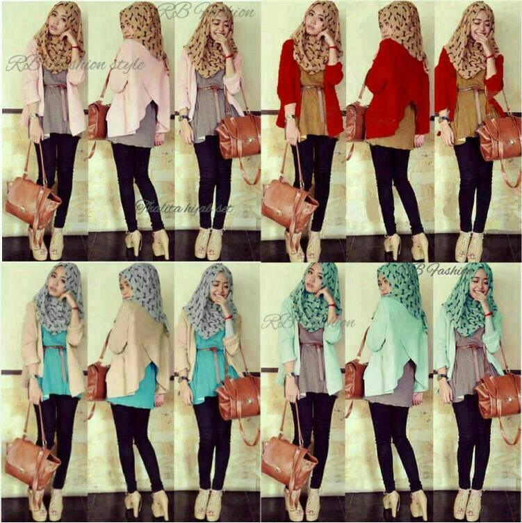 setelan hijab set thalita 5in1 / kemeja wanita hem muslim maxi dress