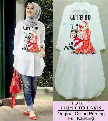 kemeja/hem/tunik hijab lets go to paris