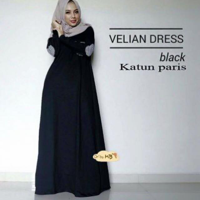 Gamis hitam / dress hitam / dress muslimah / Velian black / hijab ootd