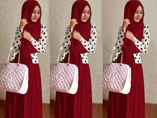 shiren set maroon 3in1 / baju muslim murah / stelan hijab / sk
