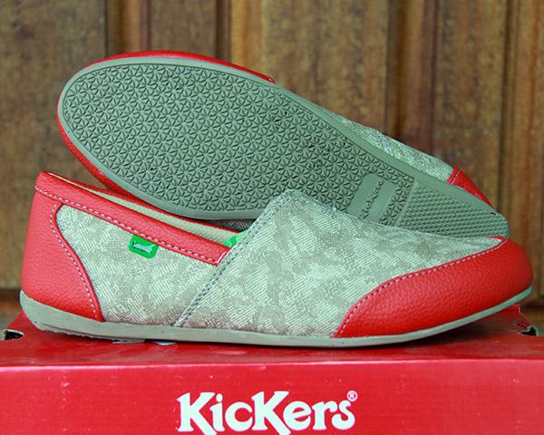 Jual Sepatu Kickers Selop Women Merah Wanita Slop Flat Sandal Kuliah