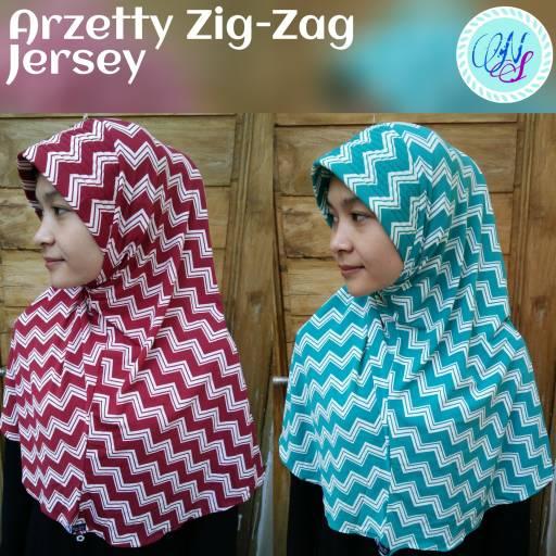 Arzety Zig zag warna jersey monochrome hijab jilbab instan
