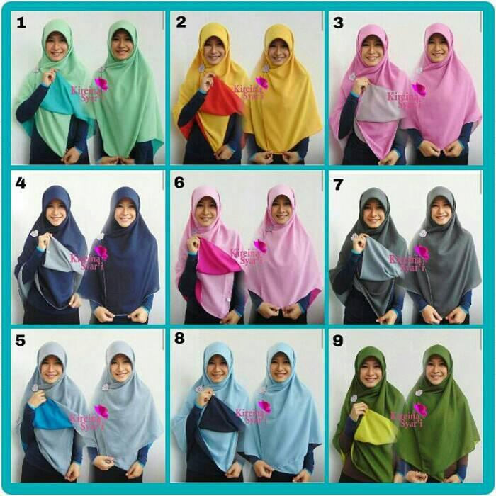 hijab/kerudung/khimar/kerudung segiempat bolak balik/kerudung double