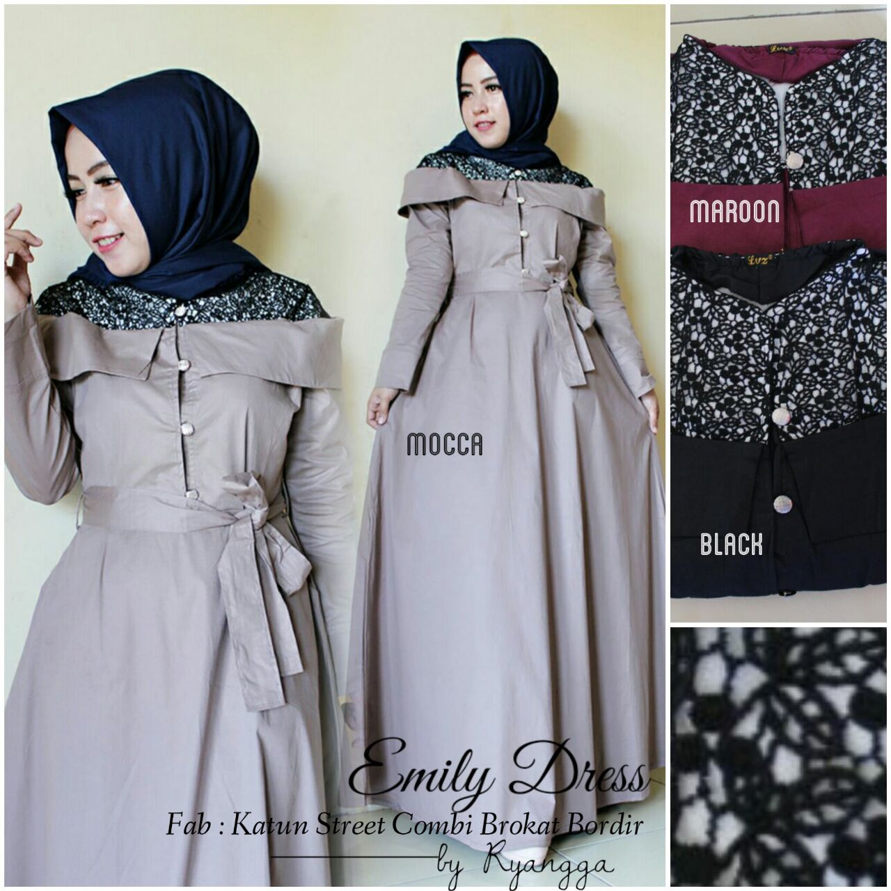 SUPPLIER HIJAB : EMILY DRESS BY RYANGGA / GAMIS ELEGAN