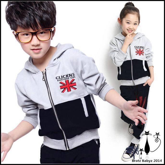 [Jaket flag kid VL] jaket anak-anak warna abu kombi hitam