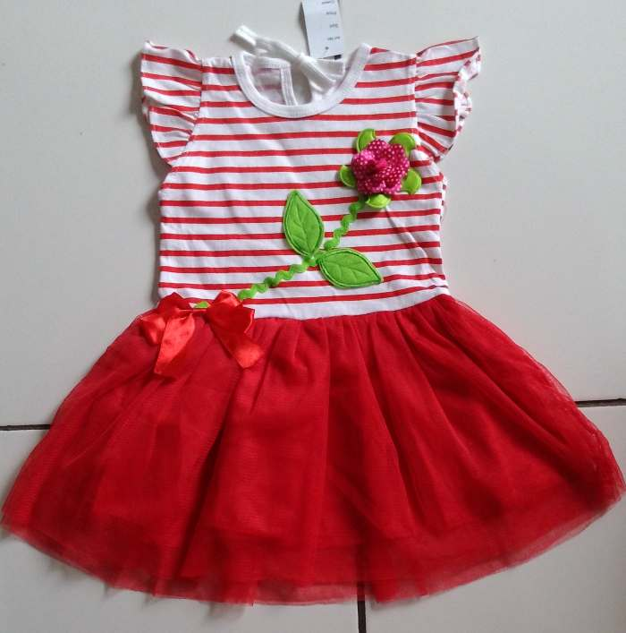 DRKD101 - Dress Anak 2Thn Flower Stripe Red Murah