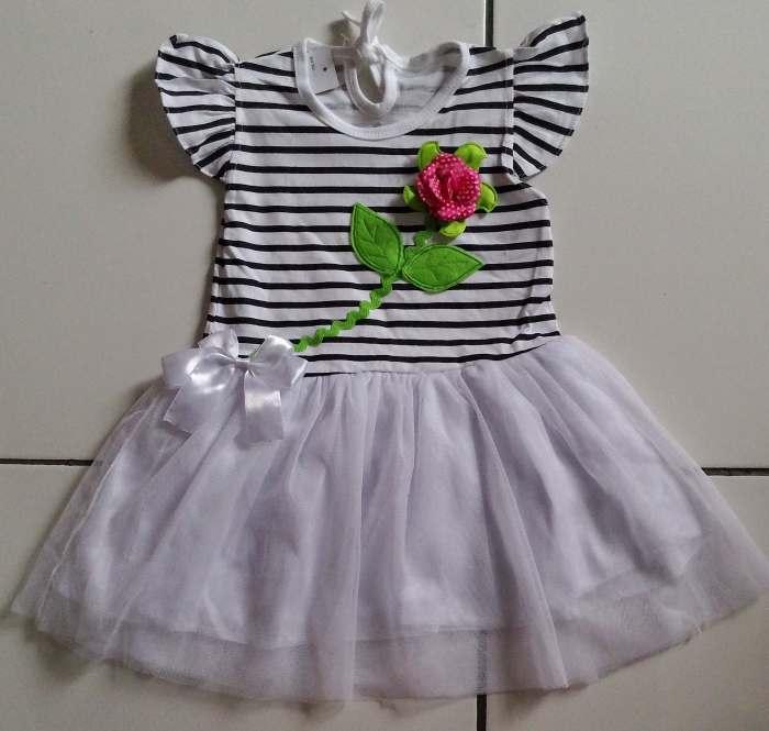 DRKD100 - Dress Anak 2Thn Flower Stripe White Murah