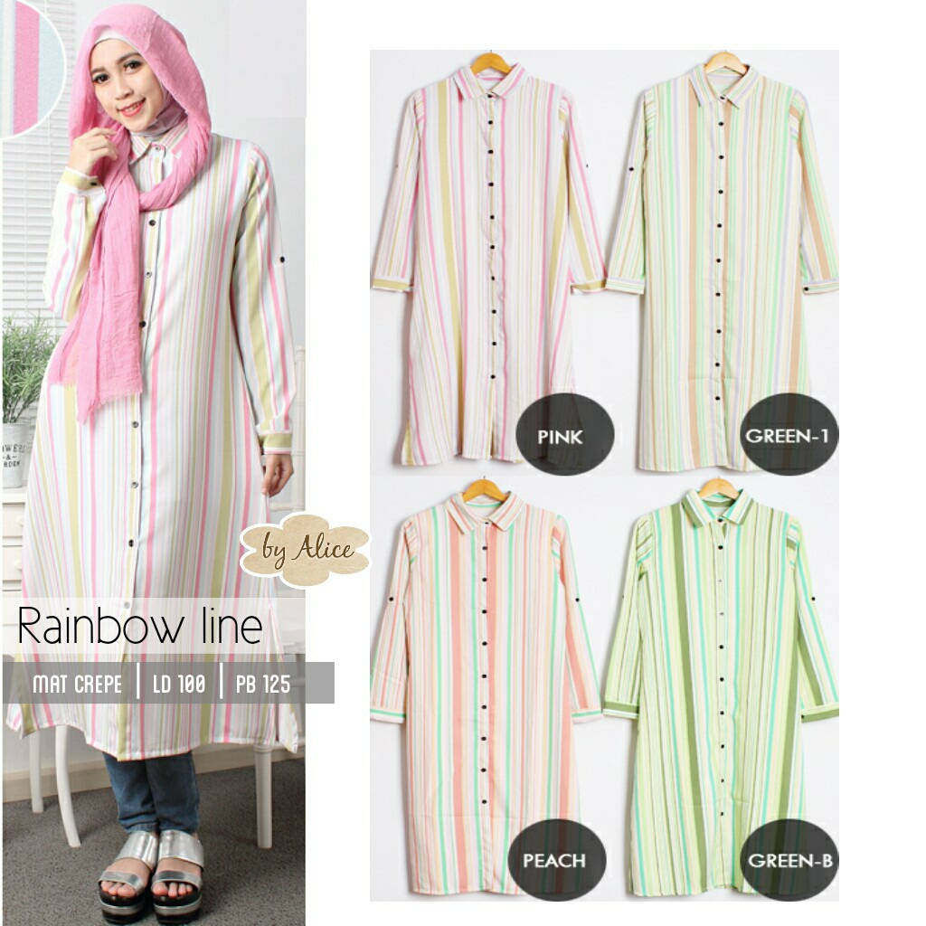 BAJU HIJAB : RAINBOW LINE BY ALICE / CREPE