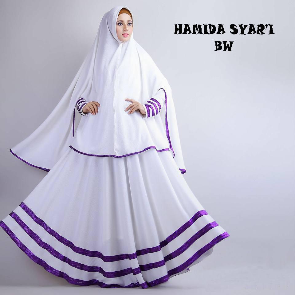 Gamis Wanita / Baju Muslim / Hijab hamida putih