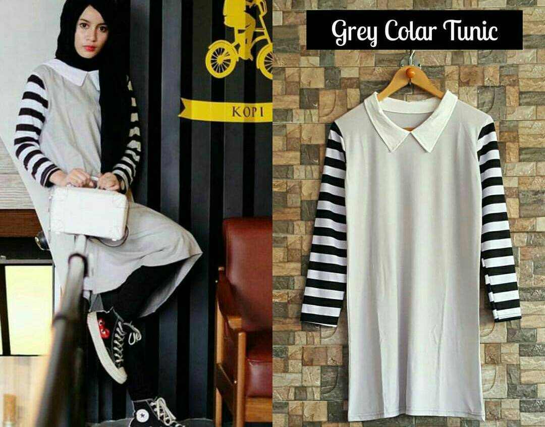 GREY COLAR TUNIC / TUNIK / TOP / BLOUSE / HIJAB / DRESS / HOTD / OOTD