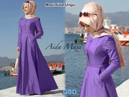 aida ungu/dress/terusan baju muslim/pakaian hijab/maxi/gamis/pasmina