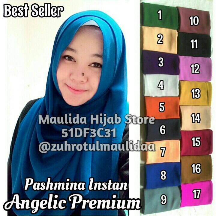 Pashmina instan angelic cerutti premium/ maulida hijab store/ bergo
