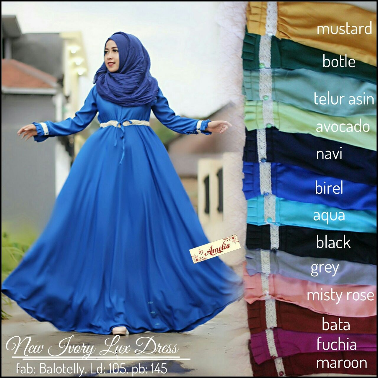 SUPPLIER HIJAB CANTIK : NEW IVORY DRESS BY AMELIA /