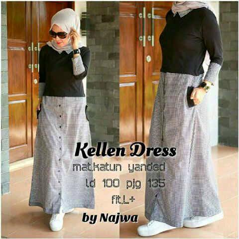 Kellen dres / dress simple / gamis sehari hari / casual hijab murmer