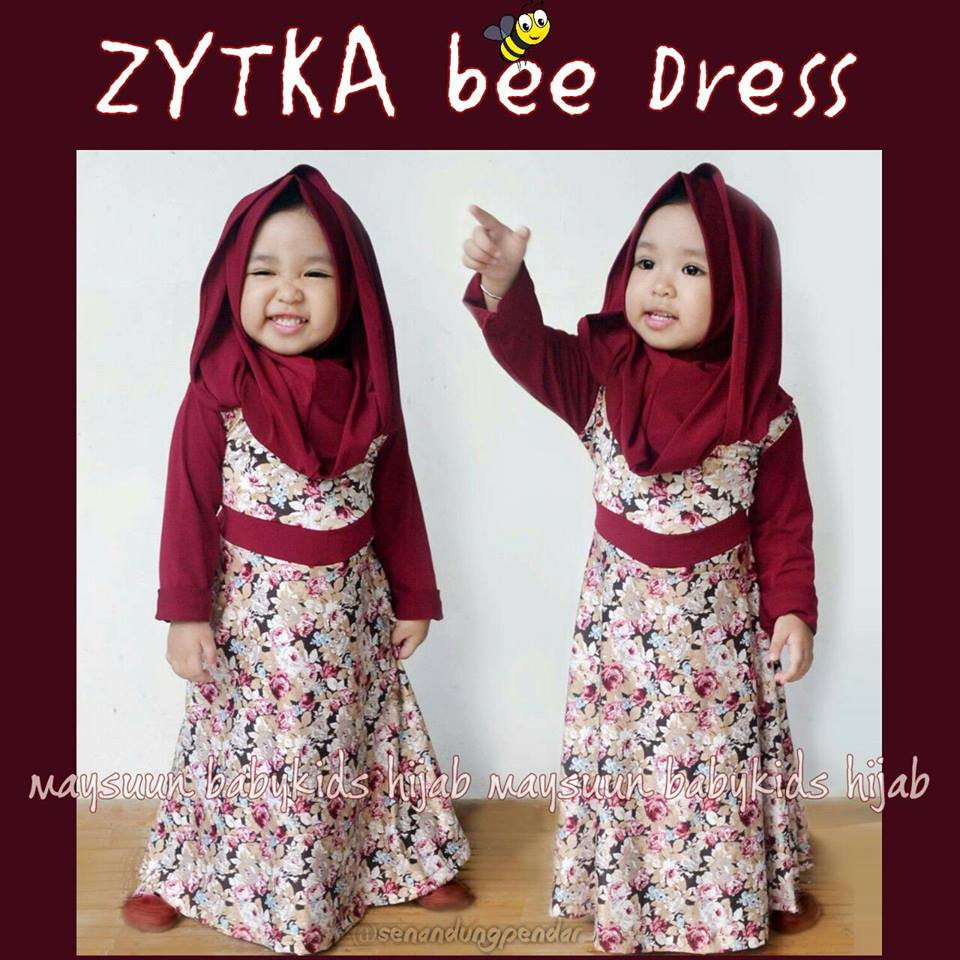 Set Gamis Jilbab Bayi/Anak, Zytka Bee Dress by Maysuun Baby Kids Hijab