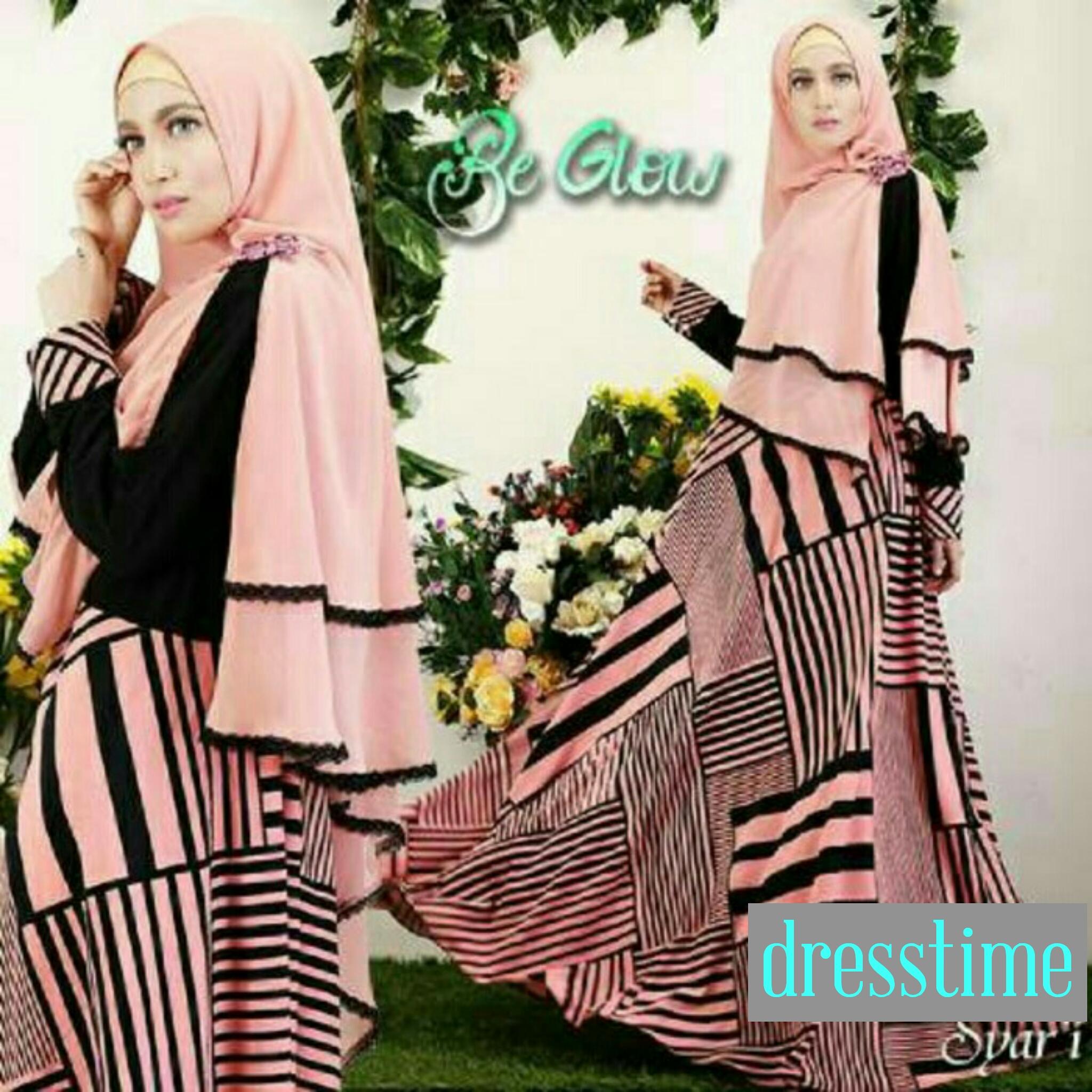 Jual Gamis Syari Baju Muslim Maxi Dress Bergo Pink Tosca 84 45ea63b88f