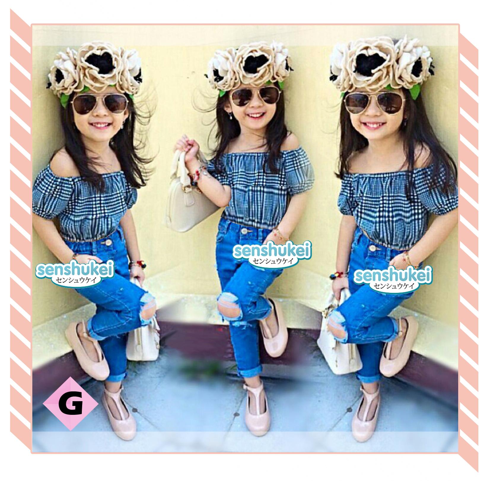 Jual Baju Anak - Senshukei Blue Sabrina set ripped jeans - butiknyacc | Tokopedia