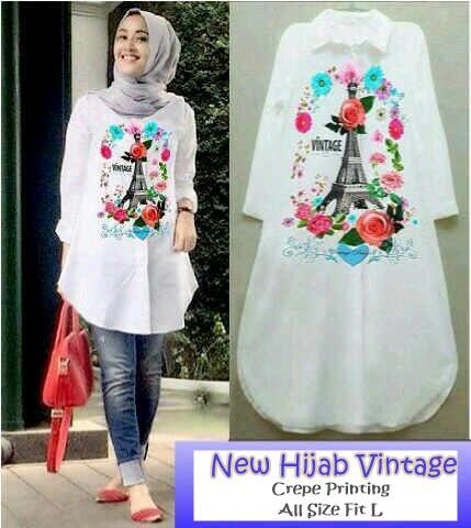 Baju Atasan Muslim Hijab Katun Printing Vintage Paris White Tunic
