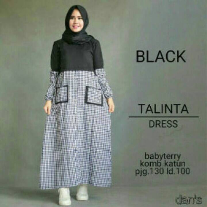 GROSIR  BAJU HIJAB  : TALINTA DRESS BLACK