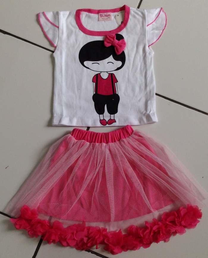 STKDK151 - Setelan Rok Anak Kecil Little Girl Ribbon Pink (1-1.5thn)