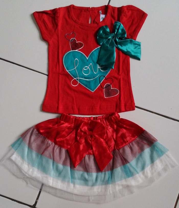 STKDK153 - Setelan Rok Anak Kecil Love Ribbon Red (1-2thn)