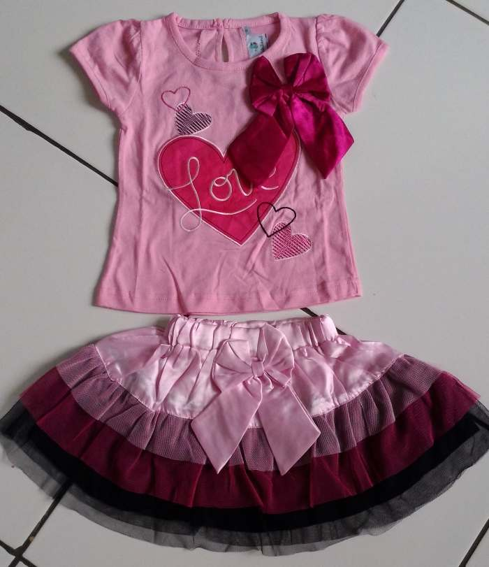 STKDK152 - Setelan Rok Anak Kecil Love Ribbon Pink (1-2thn) Murah