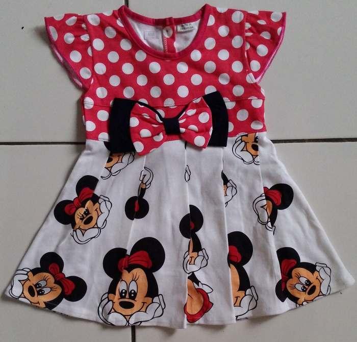 DRKD104 - Dress Anak Kecil Minnie Mouse Pink (1-2thn)