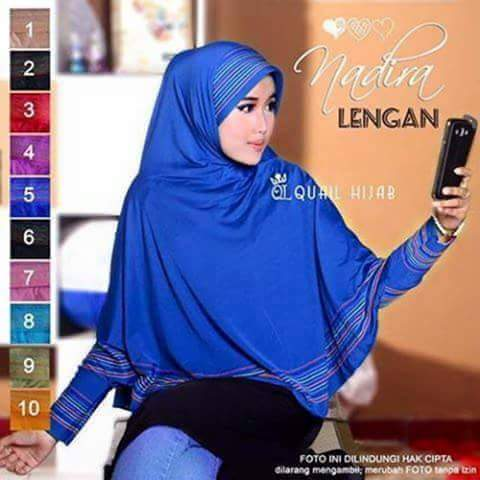 bergo nadira lengan jersey /kerudung/hijab/pasmina/syari