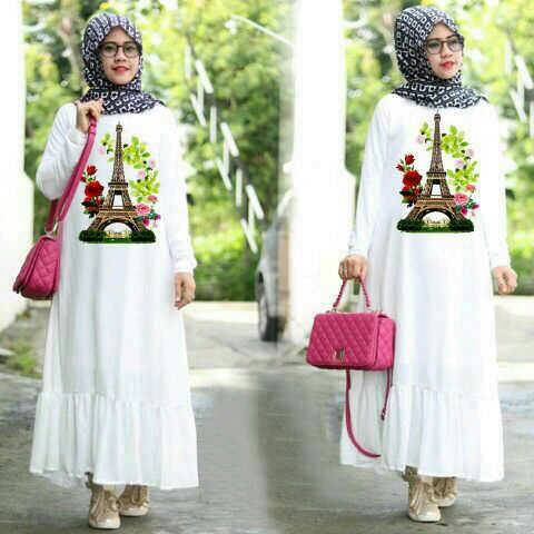 Jual Baju Muslim Remaja Dress Putih Hazari Shop Tokopedia