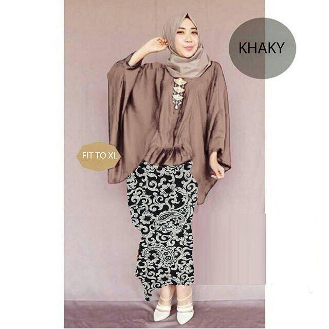 hijab amarta batik Khaky set 3in1  ( Blouse Batwing + pashmina + rok