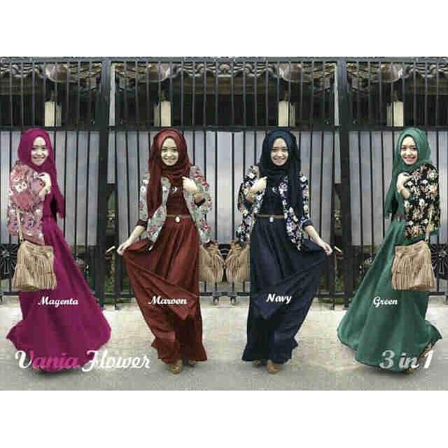 Maxi hijab new vania ( Maxi + cardi + pashmina )