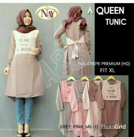 Queen Tunik, baju atasan hijab terbaru, pakaian wanita murah
