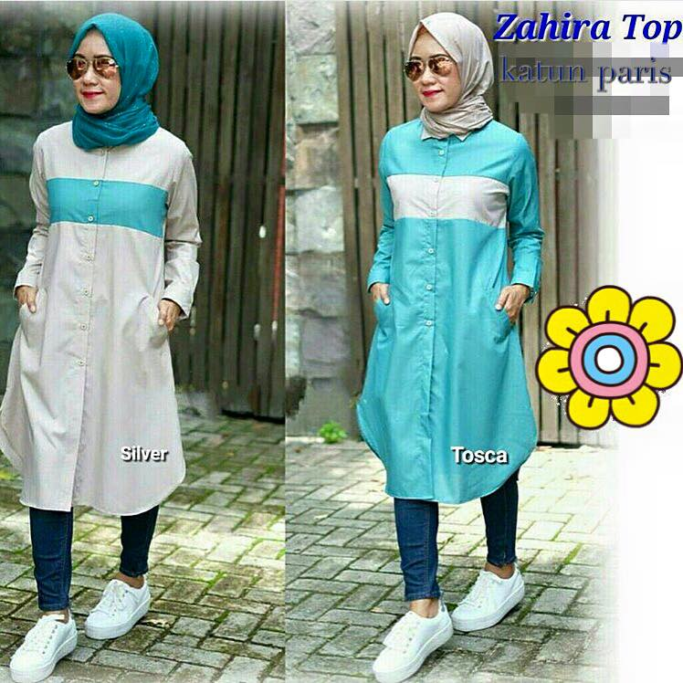 Zahira top / tunic kancing depan / baju muslim / hijab kekinian