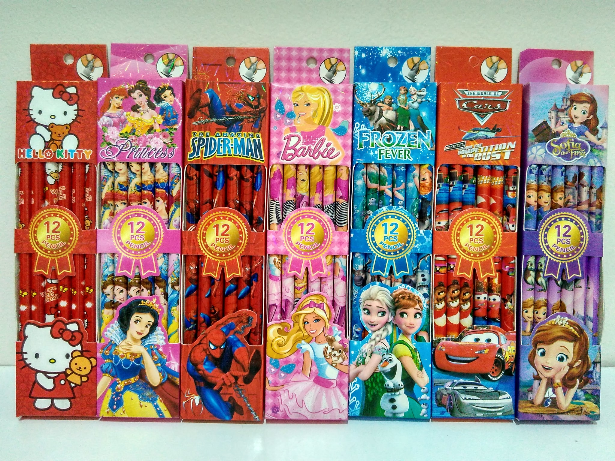 Pensil Karakter Frozen Hello Kitty Spiderman Princess Sofia Cars Barbi