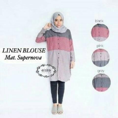 Linen Blouse / Tunik / baju menyusui / atasan berkancing / hijab murah